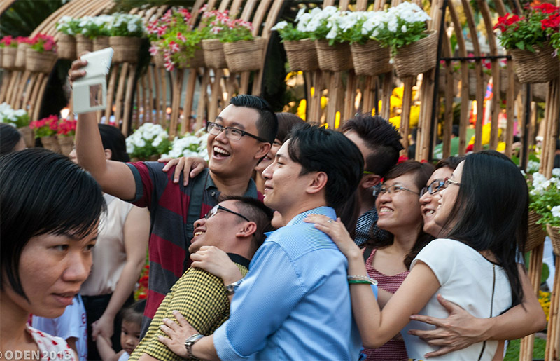 Vietnam, People taking a selfie photo