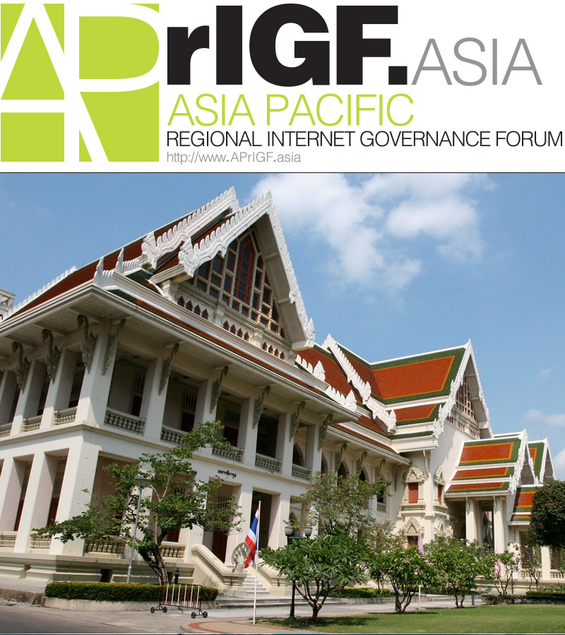 Photo: APrIGF.Asia logo with host venue Chulalongkorn University