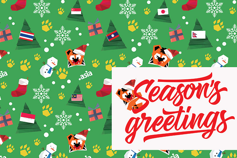 Season's Greetings from .Asia and Ajitora.  Christmas Tree and Presents vector art by www.zcool.com.cn - CC:A