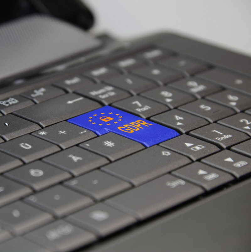 Photo: laptop keyboard with GDPR highlighted keys