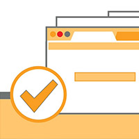 Illustration: Web browsers with check mark next to email field