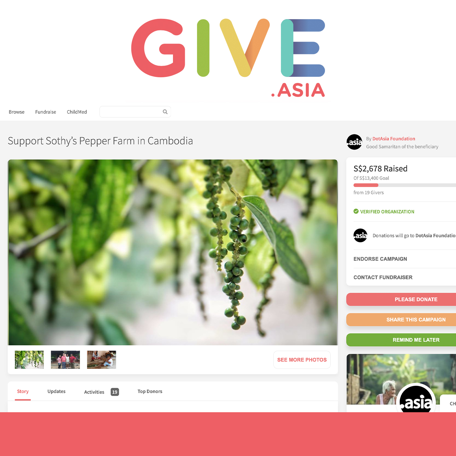 Give.Asia donation campaign: Support Sothy's Pepper Farm in Cambodia