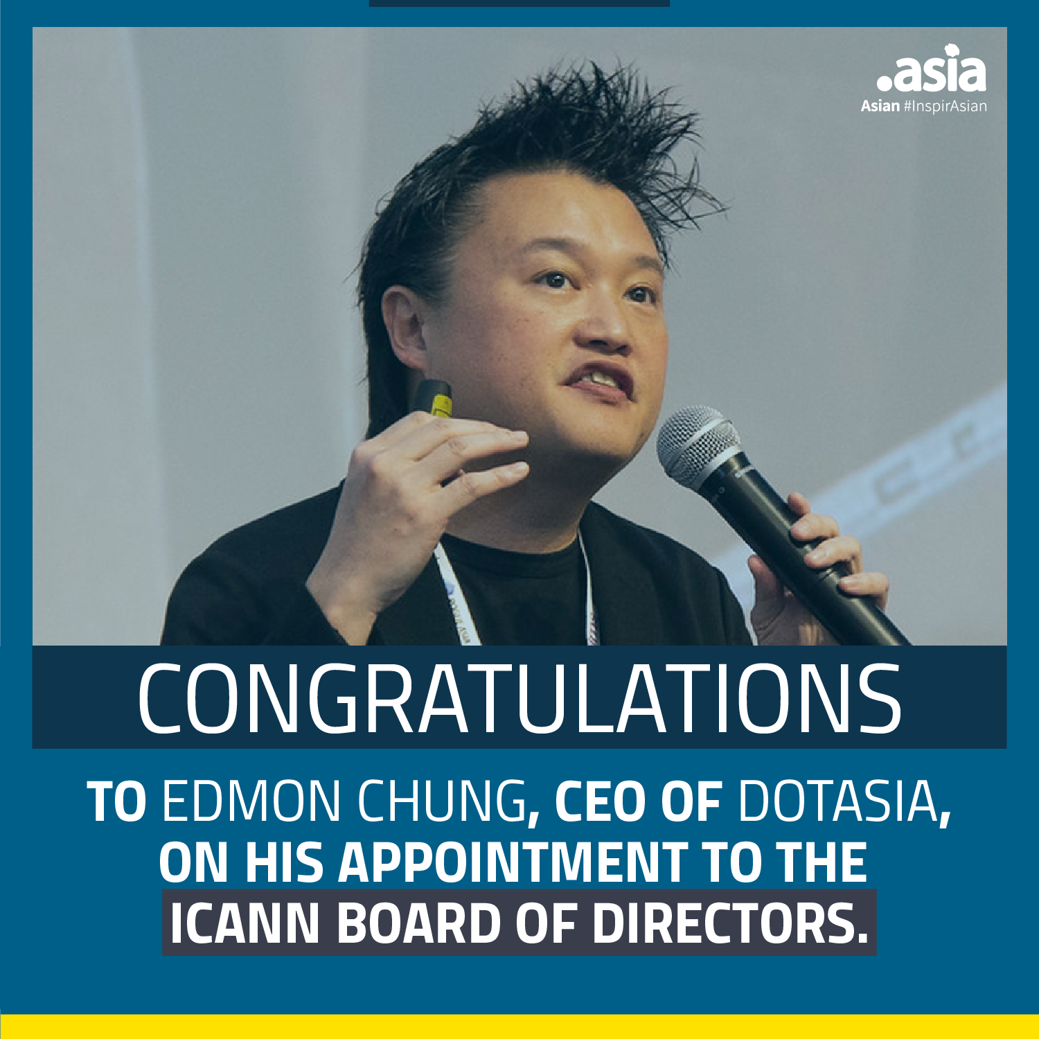 Edmon CHUNG appointment to the ICANN Board of Directors